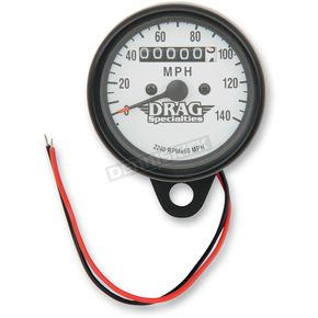 Drag Specialties 2240:60 Ratio White Faced Mini Mechanical Speedometers With Black Housing - 2210-0254