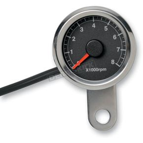Drag Specialties Polished Stainless Steel 1 7/8 Inch Electronic Tacometer w/ Black Face  - 2211-0121