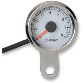 Drag Specialties Polished Stainless Steel 1 7/8 Inch Electronic Tacometer w/ White Face  - 2211-0122