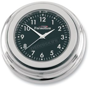 Formotion Chrome Flat Mount Clock w/Black Face - SL-20000