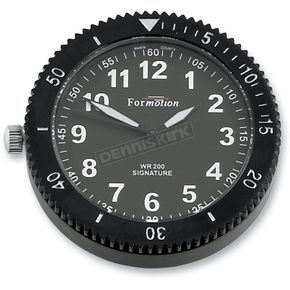 Formotion Black Chrome Stainless Steel Snap Back Signature Series White Face Clock w/Super LumiNova Treatments - SB-85200