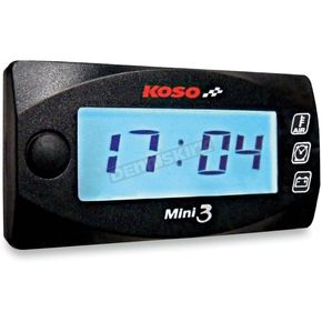 Koso North America Mini 3 Ambiant Temperature/Clock/Volt Meter - BA003130