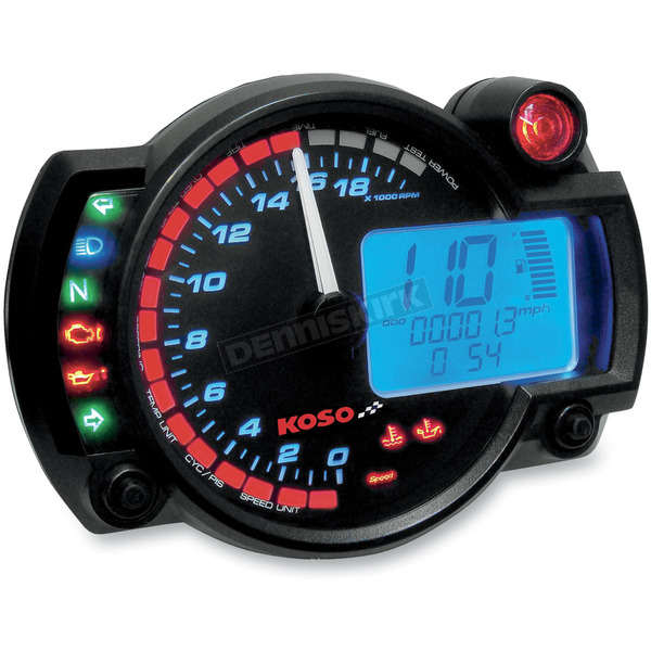 Koso North America RX-2N GP-Style Instrument Panel w/0-10,000 RPM Range  - BA015B10