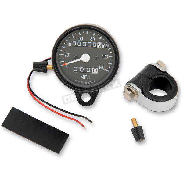 Drag Specialties 2:1 Ratio Black Faced Mini Mechanical Speedometers/Tripmeter With Black Housing - 2210-0251