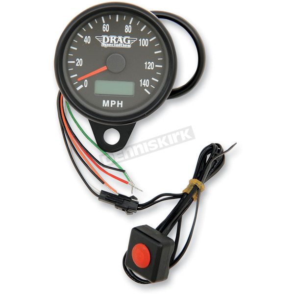Drag Specialties 2.4 Inch Programmable Mini Electronic Speedometer With Odometer/Trip Meter - 2210-0257