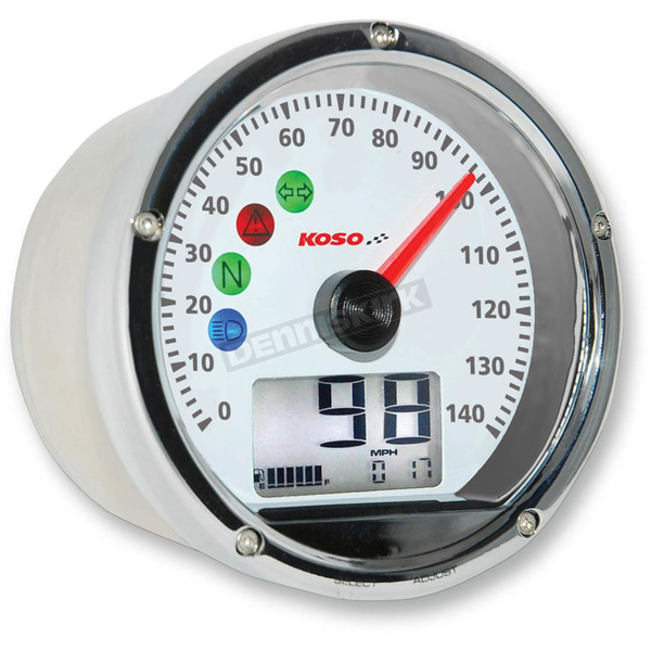 Koso North America Chrome TNT-01S Speedometer w/White Face - BA035160