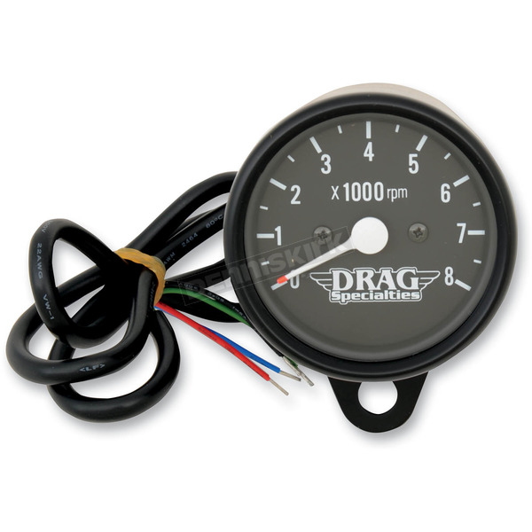 Drag Specialties Black Face 2.4 Inch Mini Electronic Tacometer - 2211-0119