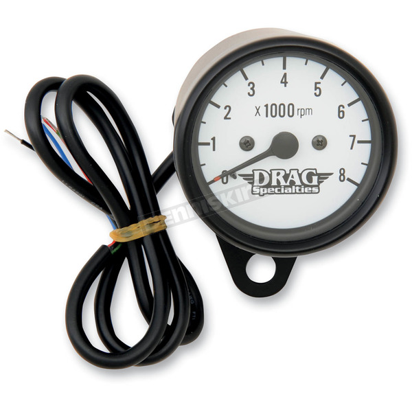 Drag Specialties White Face 2.4 Inch Mini Electronic Tacometer - 2211-0120