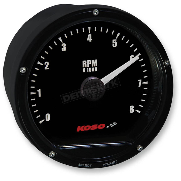 Koso North America Black Casing/Black Face T&T Electronic Tachometer - BA035112