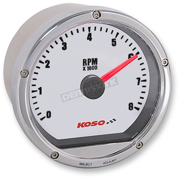 Koso North America Chrome Casing/White Face T&T Electronic Tachometer - BA035102