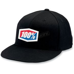 100% Black Flat Bill Hat - 20014-001-18