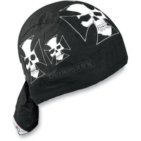 Zan Headgear Iron Cross Skull Flydanna Headwrap - Z529