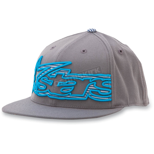 Alpinestars Charcoal Big Plaid 210 Flat Brim Hat - 10328101218LXL