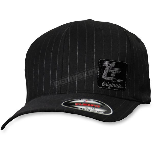 Throttle Threads Black Originals Pinstripe Curved Bill Hat - TT601H95BWSM