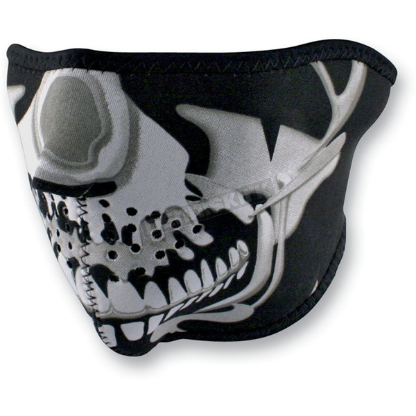 Zan Headgear Chrome Skull Half Face Mask  - WNFM023H