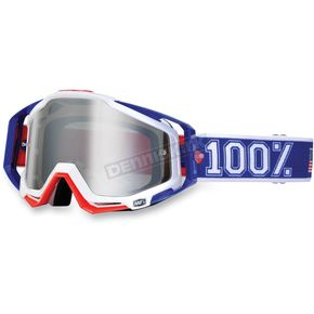 100% Red/White/Blue Varsity Racecraft Goggles w/Mirror Lens - 50110-032-02