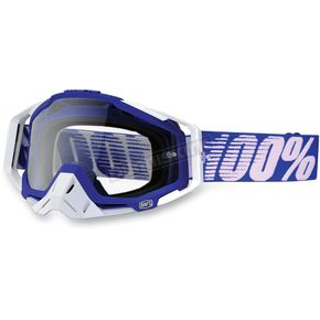 100% Blue/White Racecraft Goggles w/Clear Lens - 50100-022-02