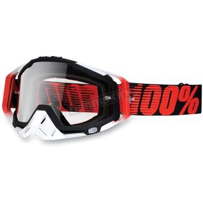 100% Red/Black Racecraft Goggles w/Clear Lens - 50100-013-02