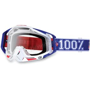 100% Red/White/Blue Varsity Racecraft Goggles w/Clear Lens - 50100-032-02