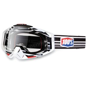 100% Black/White Barcode Racecraft Goggles w/Clear Lens - 50100-030-02