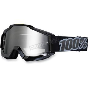 100% Pure Black Accuri Motocross Goggles w/Mirror Lens - 50210-001-02