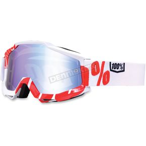 100% White/Red Accuri Motocross Goggles w/Mirror Lens - 50210-020-02