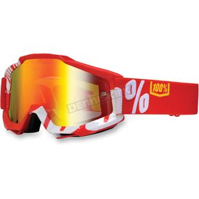 100% Fire Red/White Accuri Motocross Goggles w/Mirror Lens - 50210-003-02