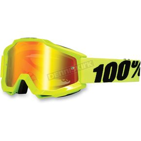 100% Fluorescent Yellow Accuri Motocross Goggles w/Mirror Lens - 50210-004-02