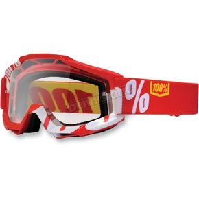 100% Fire Red/White Accuri Motocross Goggles w/Clear Lens - 50200-003-02