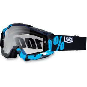 100% Black/Cyan Accuri Motocross Goggles w/Clear Lens - 50200-012-02