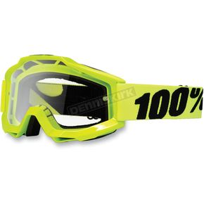 100% Fluorescent Yellow Accuri Motocross Goggles w/Clear Lens - 50200-004-02