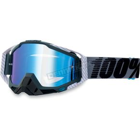 100% Gunmetal/White Carbon Racecraft Goggles w/Mirror Lens - 50110-025-02