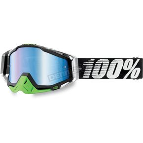 100% Metal-Lime Racecraft Goggles w/Mirror Blue Lens - 50110-027-02