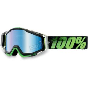100% Mirrored Metallic Lime Race Craft Goggles - 50110-027-02