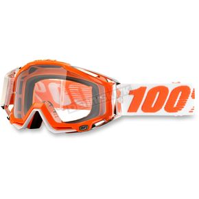 100% Orange/White Racecraft Mandarnia 2 Goggle w/Clear Lens - 50100-092-02