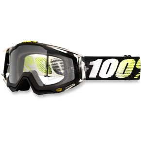 100% Black/White/Yellow Racecraft T2 Goggle w/Clear Lens - 50100-093-02