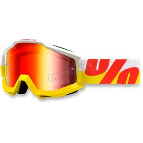 100% White/Yellow/Red Accuri In & Out Goggle w/Mirror Red Lens - 05210-095-02