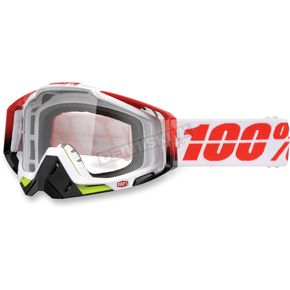 100% Black/White Racecraft Flush Goggle w/Clear Lens - 50100-109-02