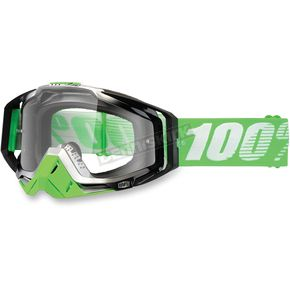 100% Green/White Racecraft Organic Goggle w/Clear Lens - 50100-116-02