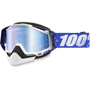 100% Blue Racecraft Snow Cobalt Goggle w/Dual Mirror Blue Lens - 50113-002-02