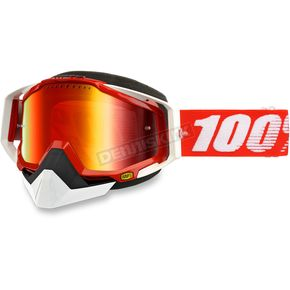100% Red Racecraft Snow Fire Red Goggle w/Dual Mirror Red Lens - 50113-003-02