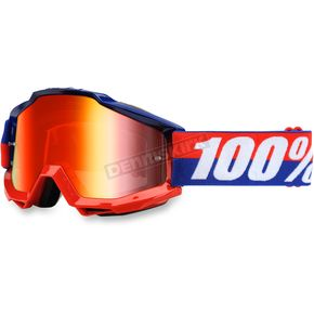 100% Accuri Federal Goggle w/Mirror Red Lens - 50210-135-02
