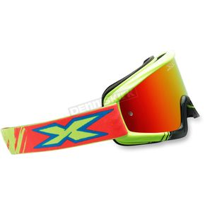 EKS Brand Yellow/Cyan/Fluorescent Red X-Fade Volcano Goggles - 067-10210