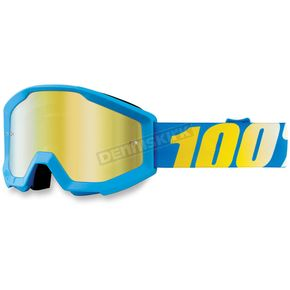 100% Strata Youth Cyan Goggles w/Mirror Gold Lens - 50510-012-02