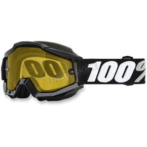 100% Black Accuri Tornado Snow Goggle w/Yellow Lens - 50203-059-02