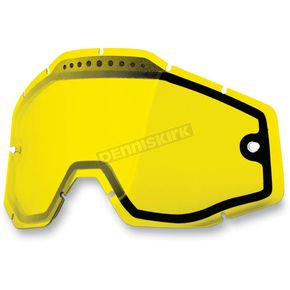100% Yellow Dual Vented Replacement Lens for Racecraft/Accuri/Strata Snow Goggles - 51006-004-02