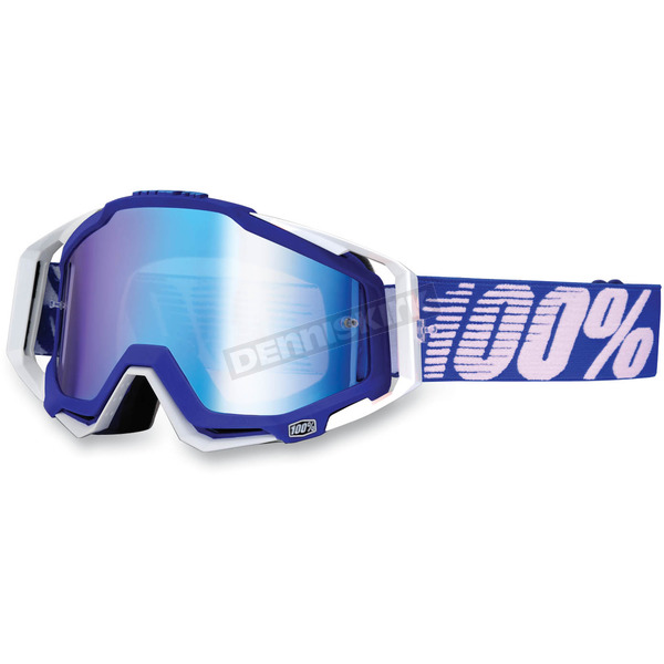 100% Blue/White Racecraft Goggles w/Mirror Lens - 50110-022-02