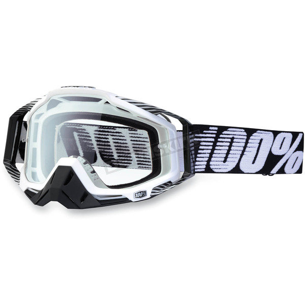 100% Black/White Racecraft Goggles w/Clear Lens - 50100-011-02