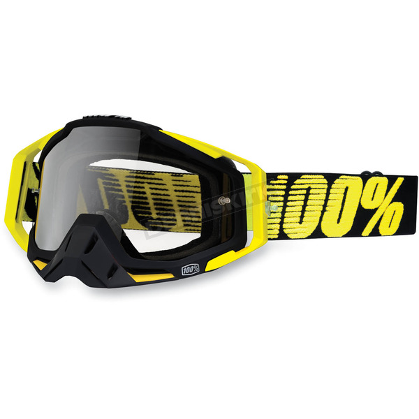 100% Black/Yellow Racecraft Goggles w/Clear Lens - 50100-014-02