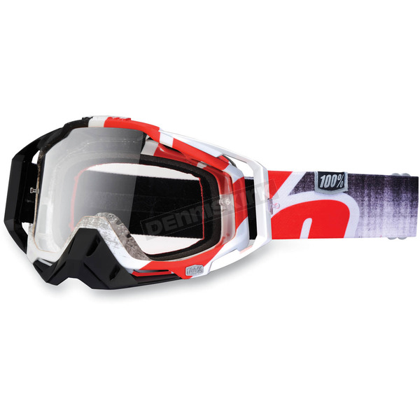100% Red Destruct Racecraft Goggles w/Clear Lens - 50100-037-02
